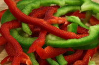 Organic Green & Red Bell Pepper Sliced