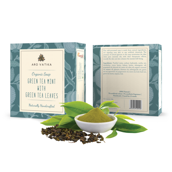 Organic Green Tea Mint Soap With Green Tea Leaves (Herbal)
