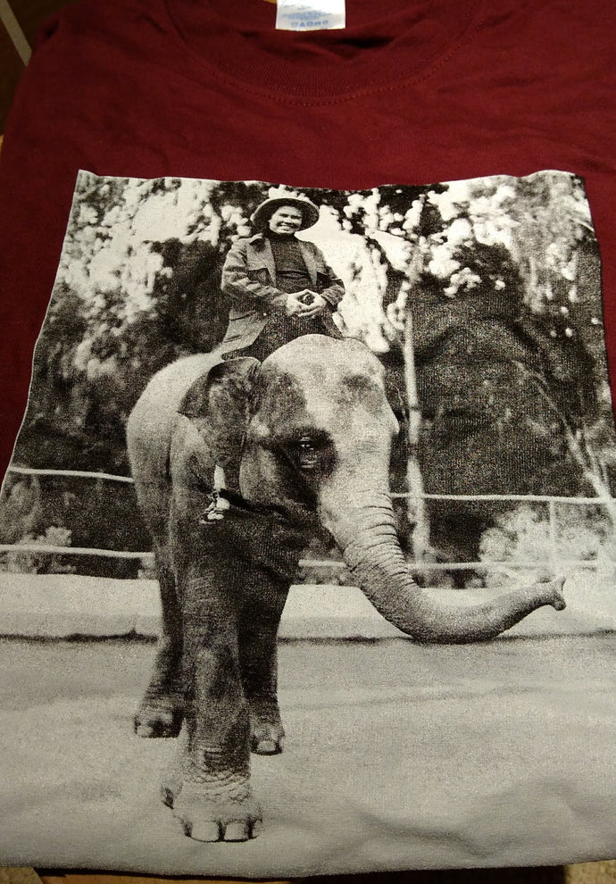 Pauline Oliveros 80th Birthday Tee shirt - Elephant - Size Large