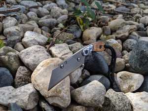 Banzelcroft Customs mini MEK, titanium EDC utility knife with trustone and tasmanian blackwood composite handle.
