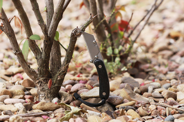 Banzelcroft Customs MEK, a titanium EDC utility knife with stabilized ancient bog oak handle scales.
