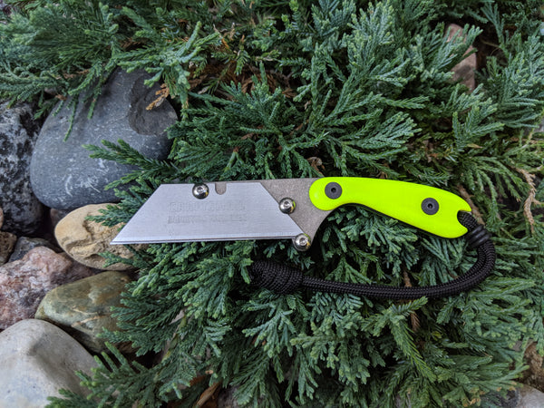 Banzelcroft Customs mini MEK, titanium EDC utility knife with dayglow G10 handle.
