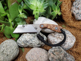 Banzelcroft Customs MEK, titanium EDC utility knife with stabilized japanese elm burl handle.