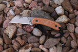 Banzelcroft Customs MEK, titanium EDC utility knife with vintage peach canvas micarta handle.