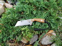 Banzelcroft Customs MEK, a titanium EDC utility knife with a thunderstorm kevlar handle.