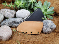 Leather sheath for Banzelcroft Customs MEK utility knife.