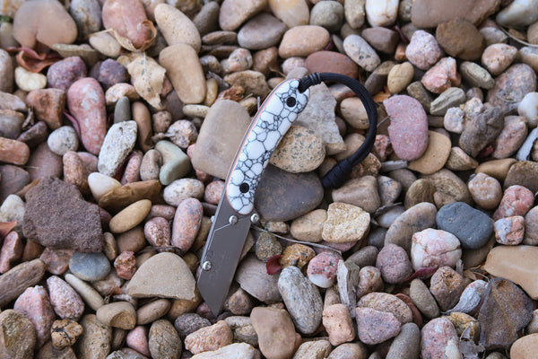 Banzelcroft Customs MEK, a custom EDC utility knife with trustone and copper handle.