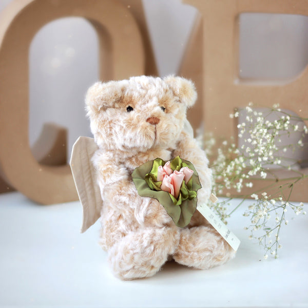 teddy bear, angel with flowers, bear angel