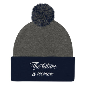 THE FUTURE IS WOMEN Embroidered Pom Pom Knit Cap