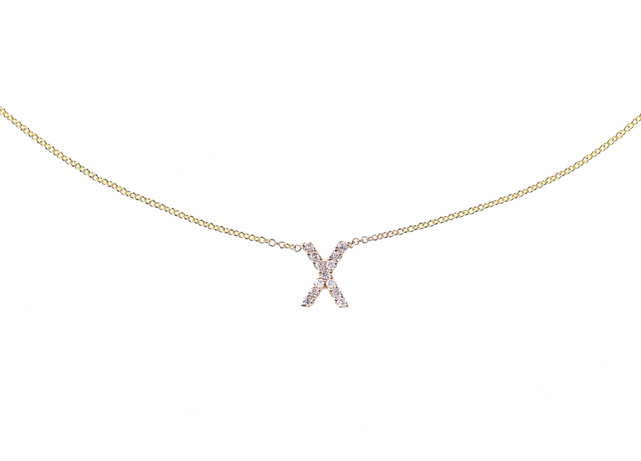 Personalized 14k Gold Initial Pendant With Diamonds Rose Gold Yell Pagnya