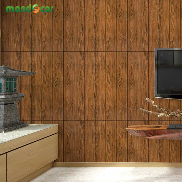 Vintage Wood Grain Self Adhesive Wallpaper Waterproof Wall Stickers Wooden Wall Decal 3d Wallpaper For Bedroom Living Room Decor