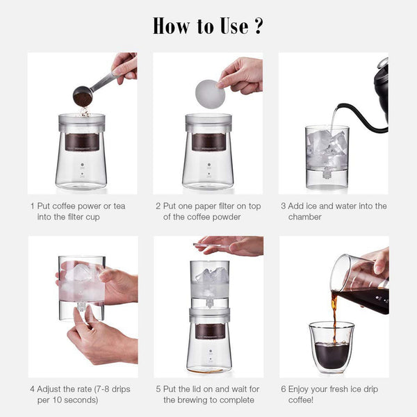 Cold Brew Coffee Maker 300 ml Ice Water Dripper Glass Pot
