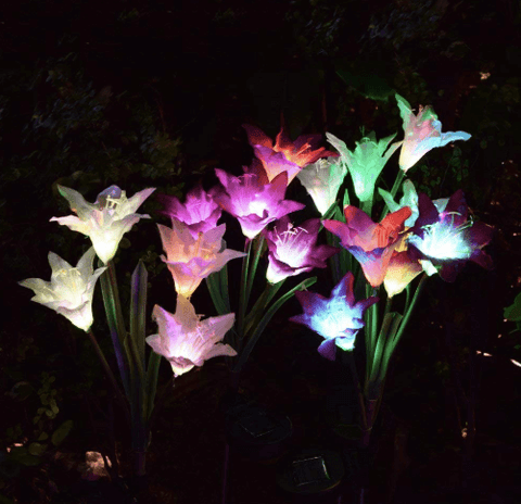 Solar powered garden Lily Flower Lights