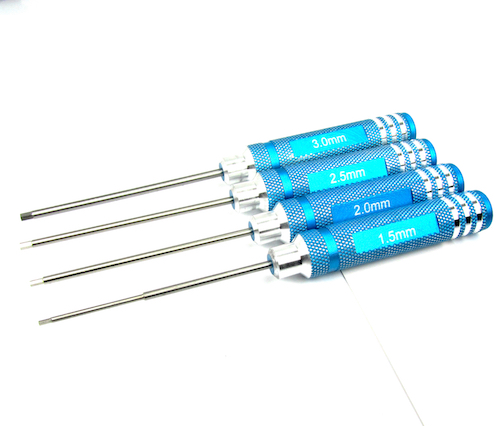 Blue Aluminum & Steel Hex Screw Allen Driver RC Tool Set1.5mm,2.0mm,2.5mm,3.0mm
