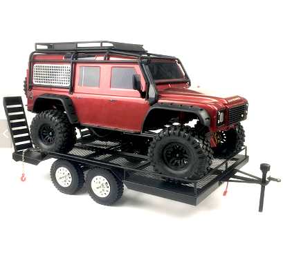 1/10 1/8 Crawler Big Boy Metal Trailer 460 X 290mm Dual Axle Leaf Suspension & LED Lights