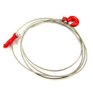 1/10 Scale Crawler  Metal Tow Cable with Red Tow Hooks