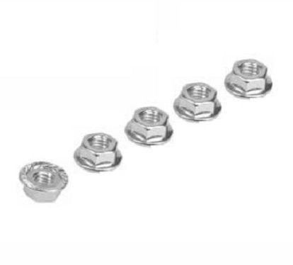 5 pcs 4mm Silver Aluminum Serrated Wheel Lock Nuts. Serrated and Flanged