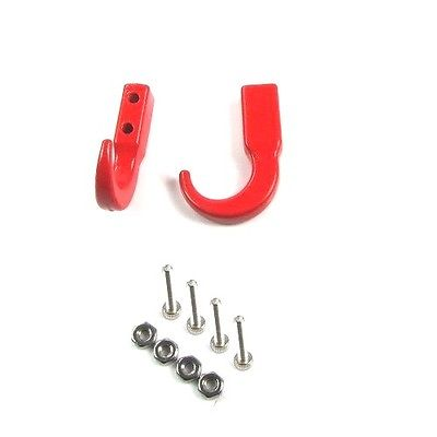 RC Crawler Metal Jammer Front Bolt On Tow Winch Red Hooks