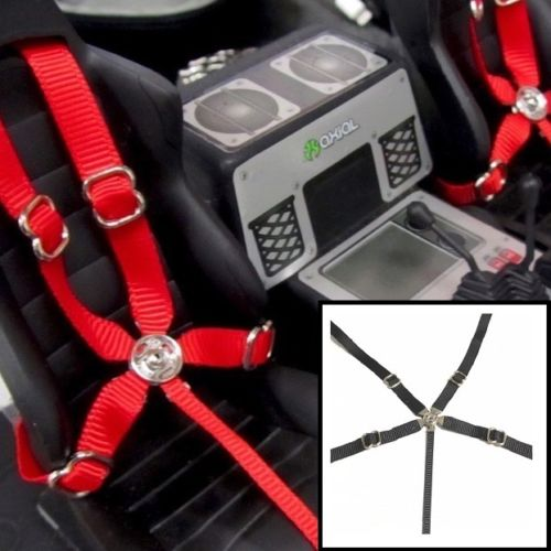 RC Scale, Drift, Crawler Racing 5 Point Harness Black Seatbelt Set
