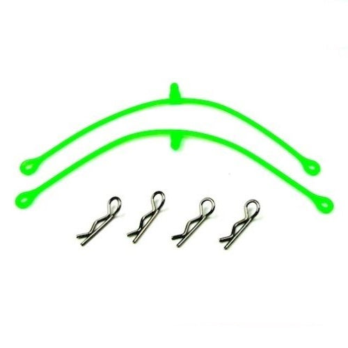 120mm Green Silicon Body Clip Leash Retainers w/ 4 Body Clips