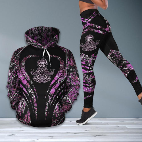 Sloth Forest Pink Combo Hoodie & Legging - Pawature