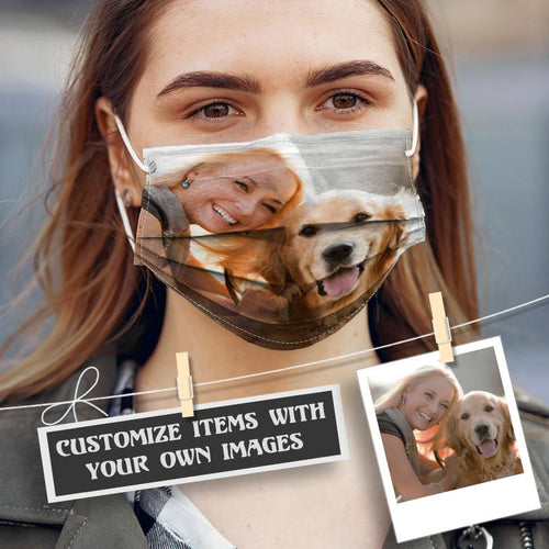 Customized Dog Cotton Face mask with inner pocket for filter PM 2.5 - Pawature