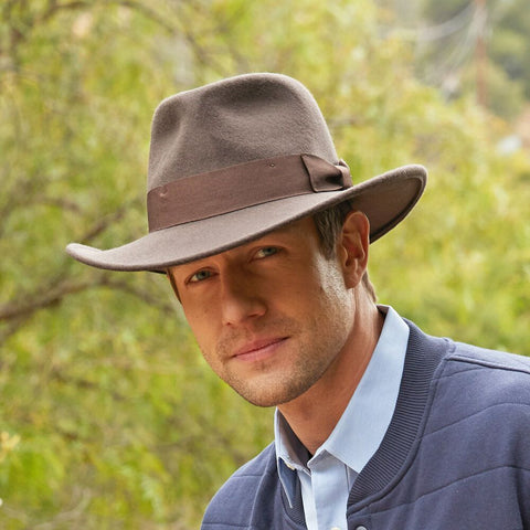 32c2d363684d1 552-BRN - Indiana Jones Men s Crushable Wool Felt Brown Safari Hat