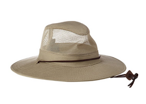 88ca63ad91bb9 Dorfman Pacific Men s Brushed Twill-and-Mesh Safari Hat with Genuine  Leather Trim
