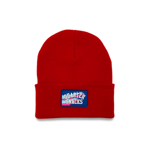 QUARTERSNACKS RUBBER LABEL BEANIE RED