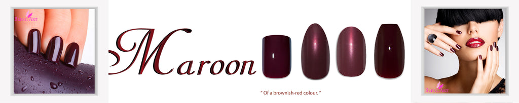 Maroon Red Brown False Nails