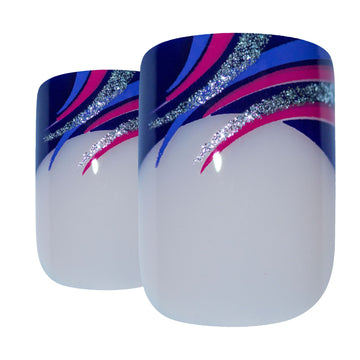 False Nails Bling Art Glitter Purple French Manicure Fake Medium Tips with Glue - Bling Art