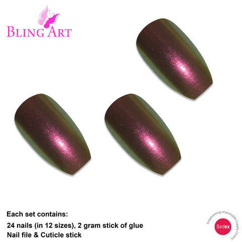 False Nails by Bling Art Gold Green Chameleon Ballerina Coffin 24 Fake Tips - Bling Art