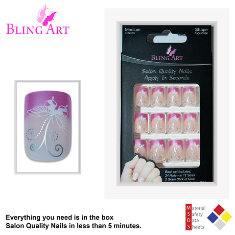 False Nails by Bling Art Pink Flower French Manicure Fake Medium Tips with Glue - Bling Art