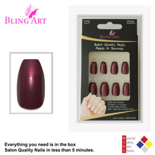 False Nails by Bling Art Red Brown Glitter Ballerina Coffin 24 Fake Long Tips