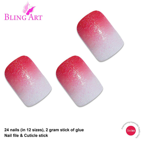 False Nails by Bling Art Red Gel Ombre French Squoval 24 Fake Medium Tips - Bling Art