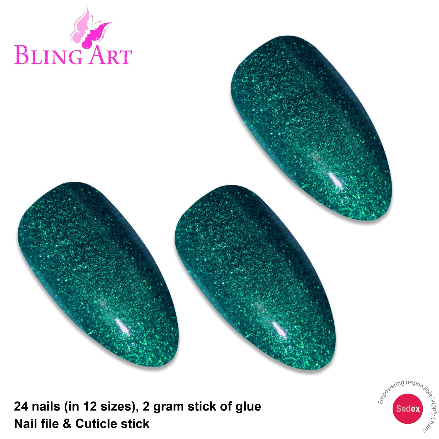 False Nails Bling Art Green Gel Almond Stiletto Long Fake Acrylic Tips with Glue