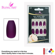 False Nails by Bling Art Red Brown Matte Ballerina Coffin 24 Fake Long Tips