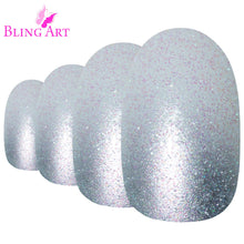 False Nails by Bling Art Silver Gel Ombre Oval Medium Fake Acrylic 24 Tips Glue