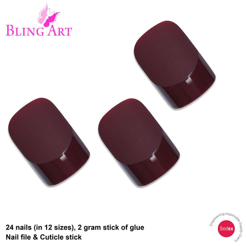 False Nails by Bling Art Brown Matte French Squoval 24 Fake Medium Acrylic Tips - Bling Art