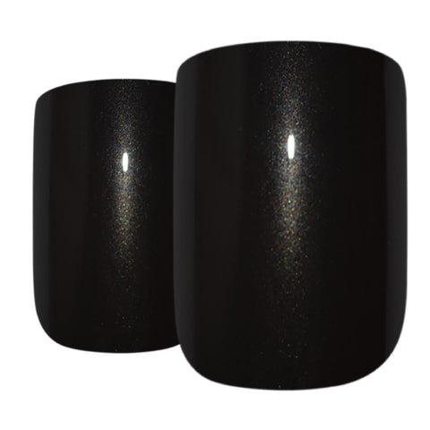 False Nails by Bling Art Black Glitter French Squoval Fake Medium Acrylic Tips - Bling Art