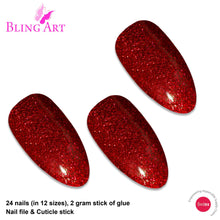 False Nails Bling Art Red Gel Almond Stiletto Long Fake Acrylic Tips with Glue