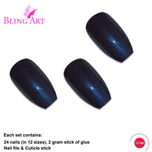 False Nails by Bling Art Blue Glitter Ballerina Coffin 24 Fake Long Acrylic Tips