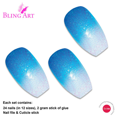 False Nails by Bling Art Blue Gel Ombre Ballerina Coffin Fake Long Acrylic Tips - Bling Art