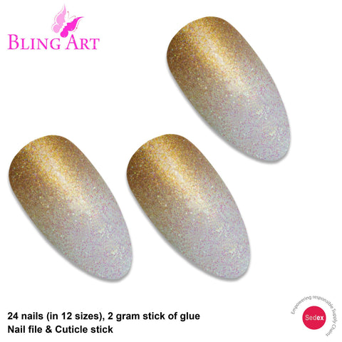 False Nails by Bling Art Gold Gel Ombre Almond Stiletto 24 Fake Acrylic Tips - Bling Art