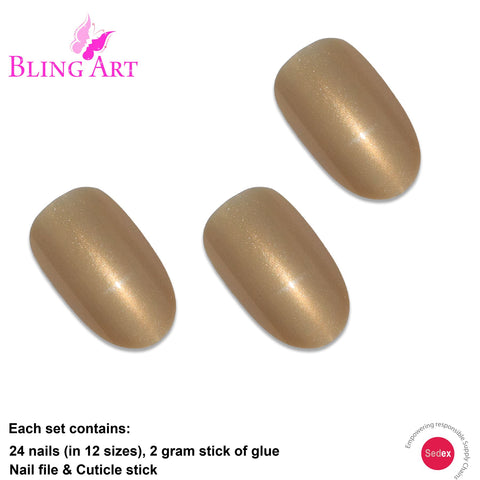 False Nails by Bling Art Gold Glitter Oval Medium Fake Acrylic 24 Tips with Glue - Bling Art