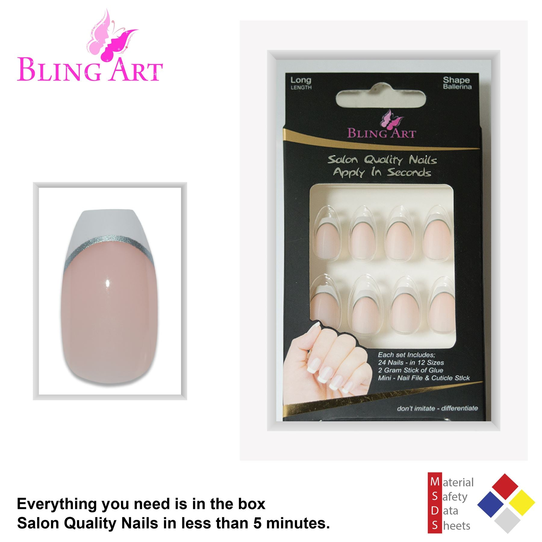 False Nails by Bling Art White Silver Polished Ballerina Coffin Fake 24 Nail Tips