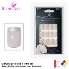 False Nails by Bling Art White Hearts French Manicure Fake Medium Tips with Glue