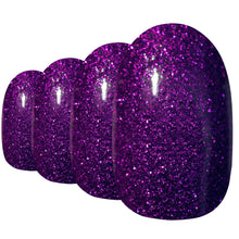 False Nails by Bling Art Purple Gel Oval Medium Fake Acrylic Round Nail Tips with Glue