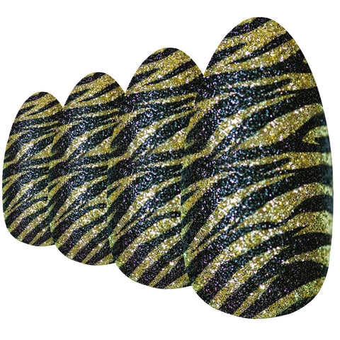 False Nails Bling Art Gold Black Almond Stiletto Long Fake Acrylic Tips with Glue - Bling Art