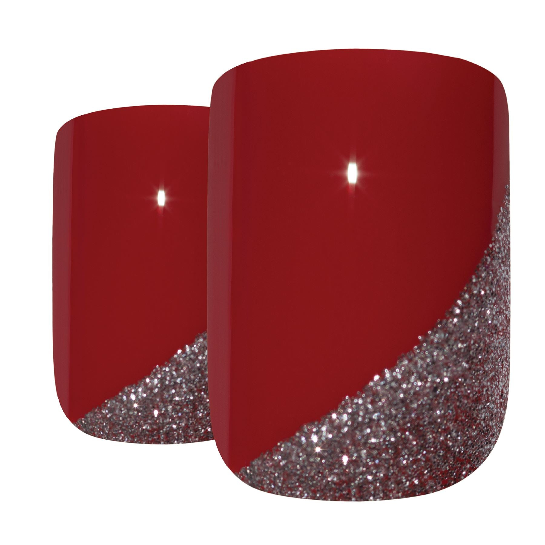 False Nails by Bling Art Red Glitter French Squoval 24 Fake Medium Acrylic Tips, Nail Care by Bling Art